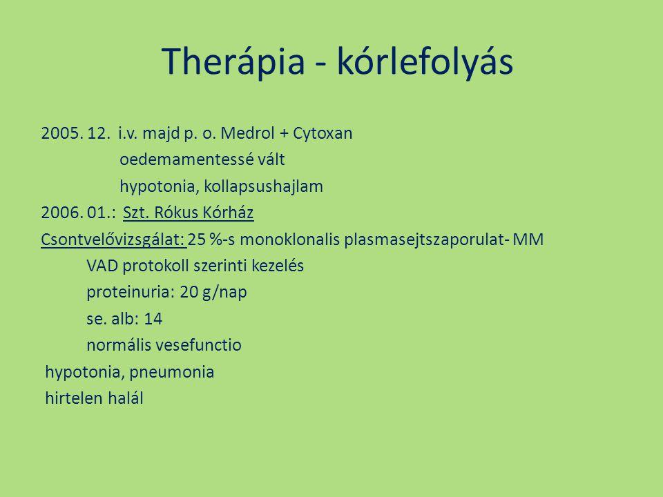 Therápia - kórlefolyás 2005. 12. i.v. majd p. o. Medrol + Cytoxan oedemamentessé vált hypotonia, kollapsushajlam 2006. 01.: Szt. Rókus Kórház Csontvel