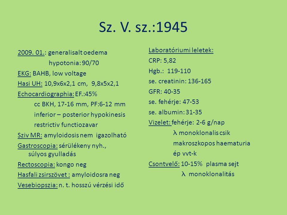Sz. V. sz.:1945 2009. 01.: generalisalt oedema hypotonia: 90/70 EKG: BAHB, low voltage Hasi UH: 10,9x6x2,1 cm, 9,8x5x2,1 Echocardiographia: EF.:45% cc