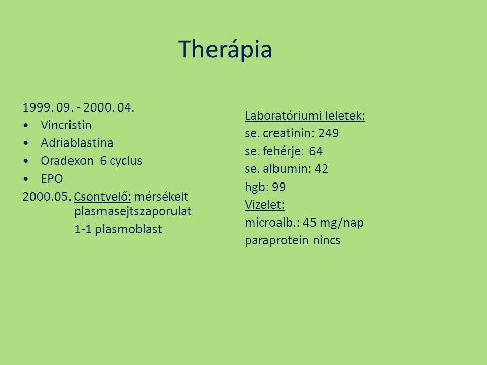 Therápia 1999. 09. - 2000. 04. Vincristin Adriablastina Oradexon 6 cyclus EPO 2000.05. Csontvelő: mérsékelt plasmasejtszaporulat 1-1 plasmoblast Labor