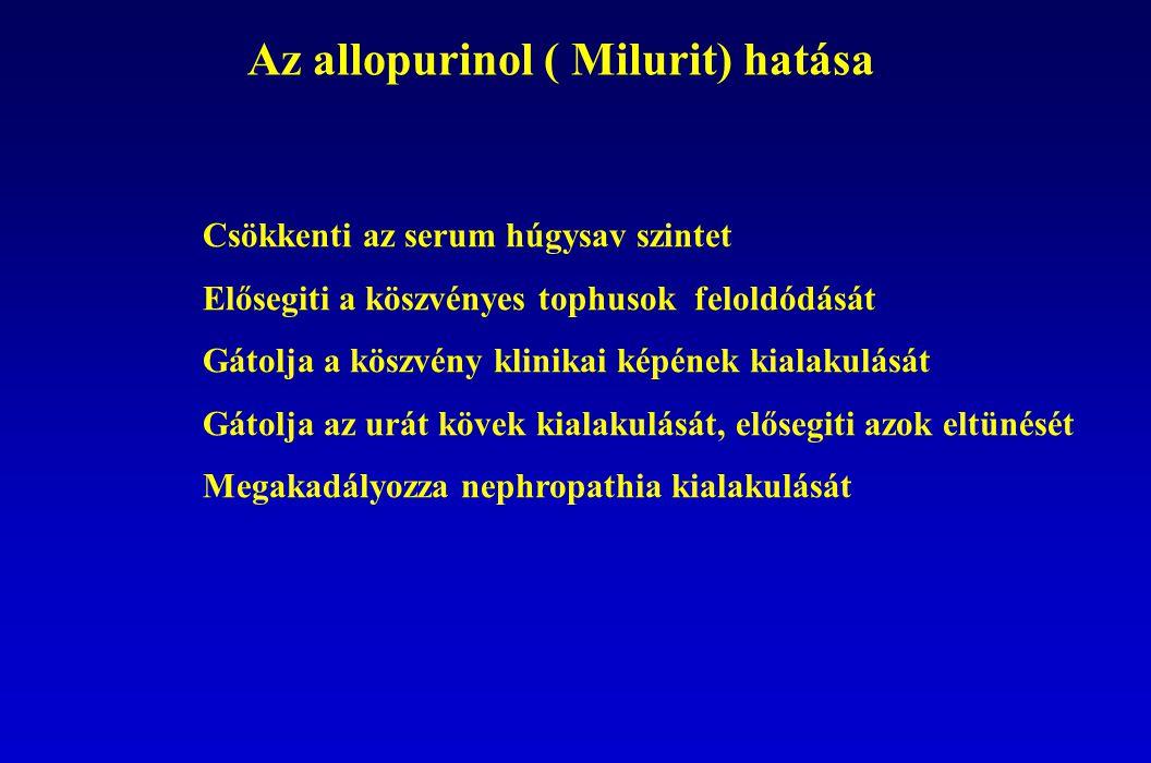 Az allopurinol ( Milurit) hatása Csökkenti az serum húgysav szintet Elősegiti a köszvényes tophusok feloldódását Gátolja a köszvény klinikai képének kialakulását Gátolja az urát kövek kialakulását, elősegiti azok eltünését Megakadályozza nephropathia kialakulását