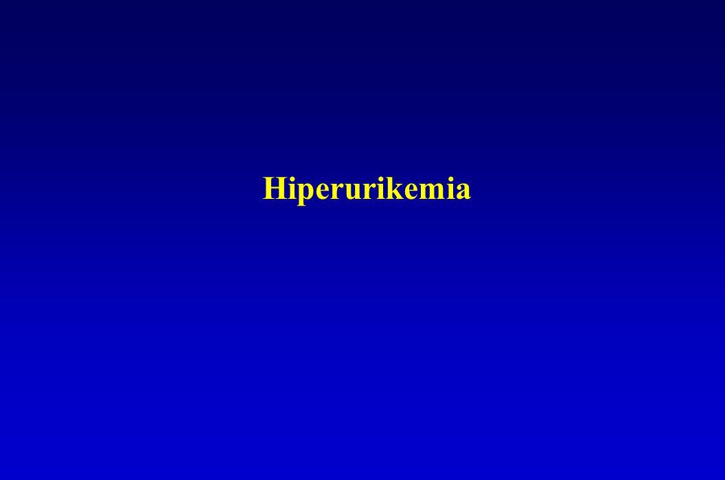 Hyperuricaemiás betegek kezelésekor kerülendő Húgysav szekréciót gátlók - pirazinamid - nikotinsav - etanol (lactat keletkezésen át hat) - diuretikumok (furosemid !) Renális húgysav reabsorptiot stimulálók - diuretikumok (thiazid, amilorid, triamteren stb.)