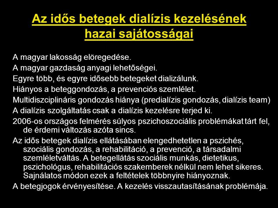 Az idős betegek dialízis kezelésének hazai sajátosságai A magyar lakosság elöregedése.