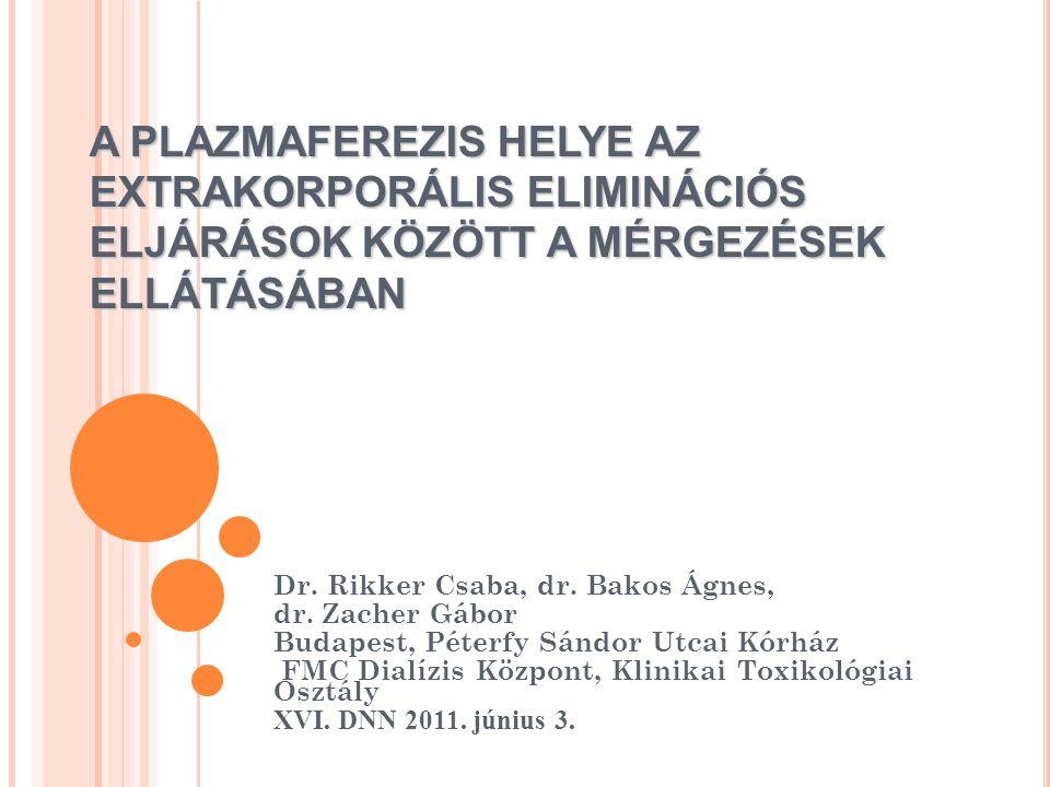 A PLAZMAFEREZIS HELYE AZ EXTRAKORPORÁLIS ELIMINÁCIÓS ELJÁRÁSOK KÖZÖTT A MÉRGEZÉSEK ELLÁTÁSÁBAN Dr. Rikker Csaba, dr. Bakos Ágnes, dr. Zacher Gábor Bud