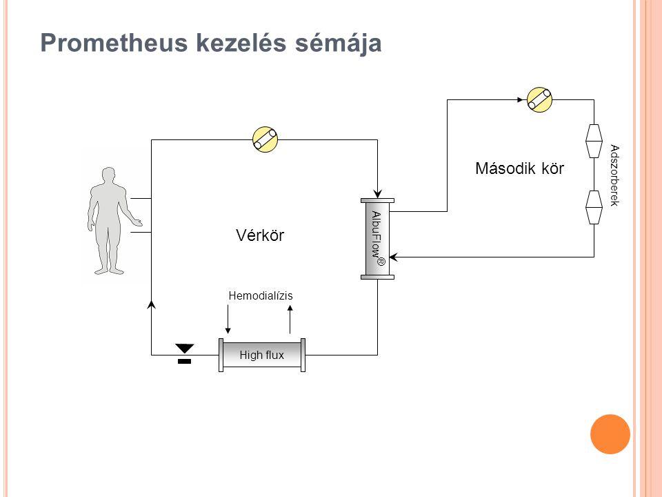 Prometheus kezelés sémája AlbuFlow ® High flux Adszorberek Vérkör Második kör Hemodialízis