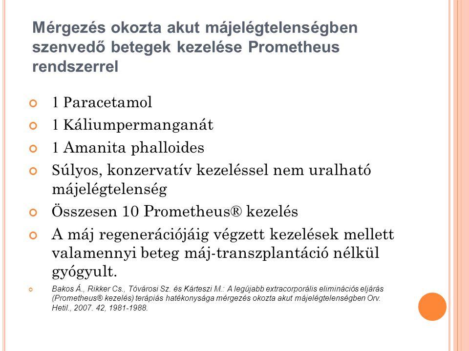 Mérgezés okozta akut májelégtelenségben szenvedő betegek kezelése Prometheus rendszerrel 1 P aracetamol 1 K áliumpermanganát 1 Amanita phalloides S úl
