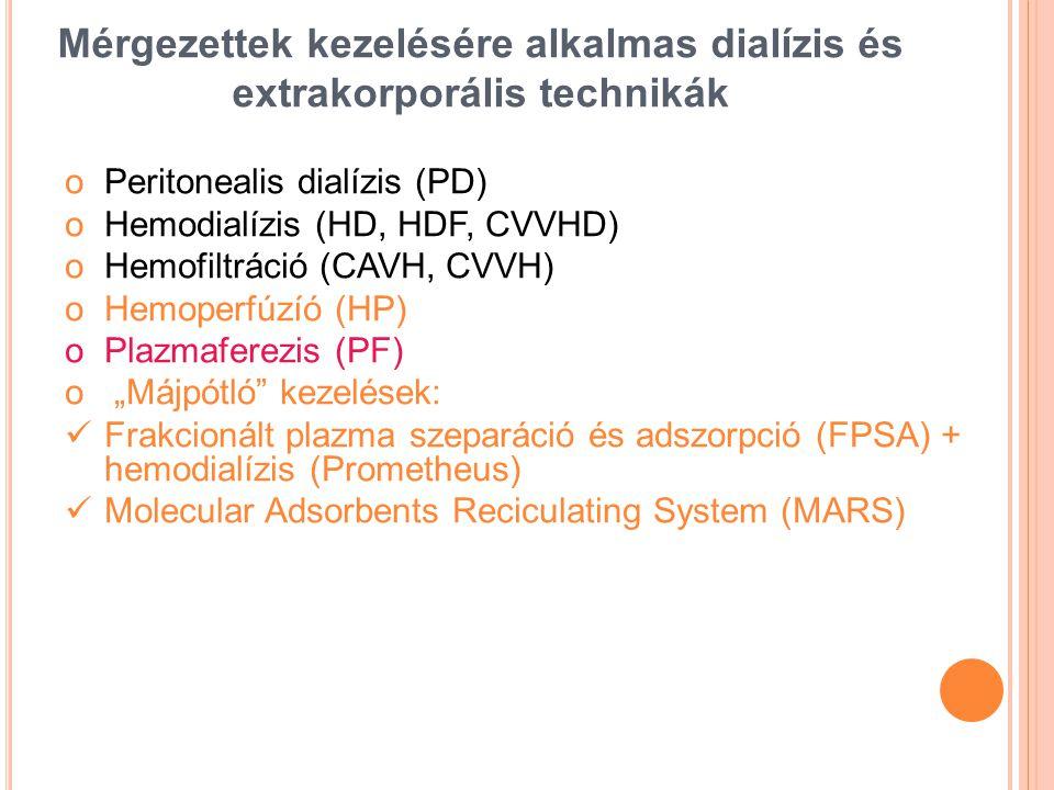 Mérgezettek kezelésére alkalmas dialízis és extrakorporális technikák oPeritonealis dialízis (PD) oHemodialízis (HD, HDF, CVVHD) oHemofiltráció (CAVH,