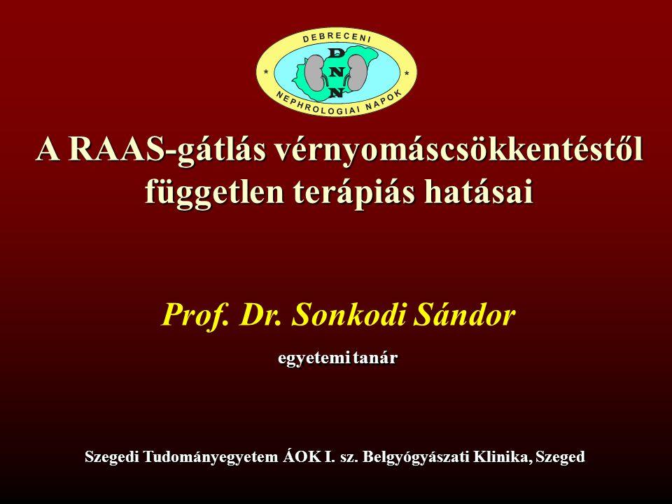 A RAAS-gátlás vérnyomáscsökkentéstől független terápiás hatásai Prof. Dr. Sonkodi Sándor egyetemi tanár Szegedi Tudományegyetem ÁOK I. sz. Belgyógyász