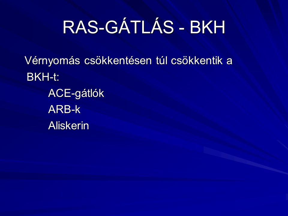 RAS-GÁTLÁS - BKH Vérnyomás csökkentésen túl csökkentik a Vérnyomás csökkentésen túl csökkentik a BKH-t: BKH-t: ACE-gátlók ACE-gátlók ARB-k ARB-k Aliskerin Aliskerin