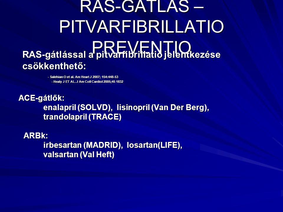 RAS-GÁTLÁS – PITVARFIBRILLATIO PREVENTIO RAS-gátlással a pitvarfibrillatio jelentkezése RAS-gátlással a pitvarfibrillatio jelentkezése csökkenthető: csökkenthető: - Salehian O et al.