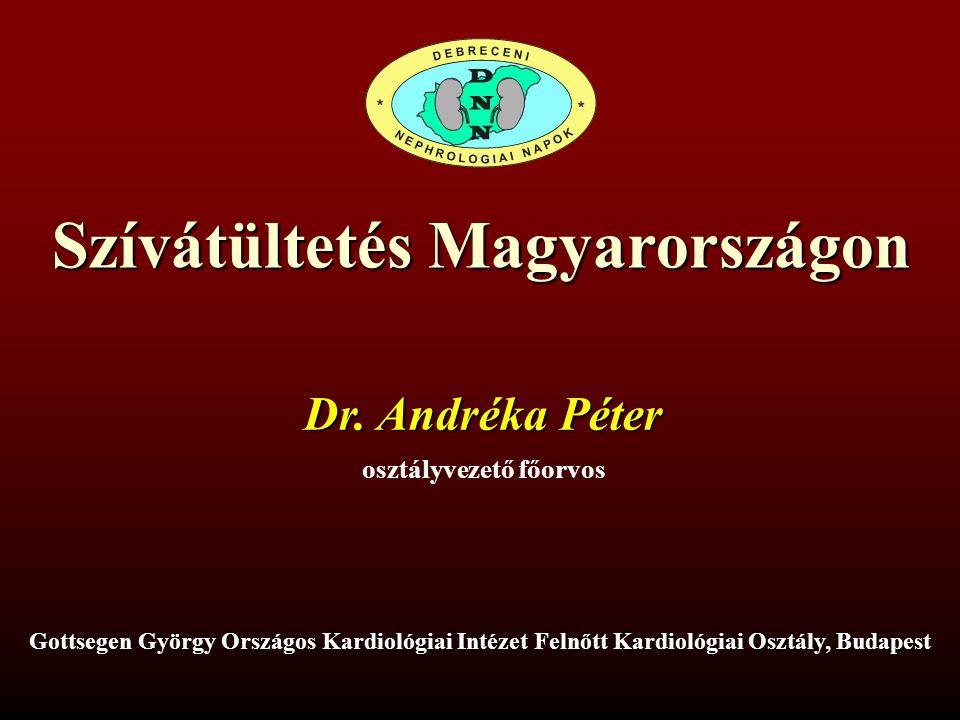 SZÍVÁTÜLTETÉS MAGYARORSZÁGON Dr.Andréka Péter Gottsegen György Országos Kardiológiai Intézet XIV.