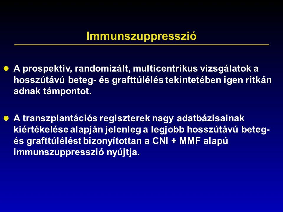 Immunszuppresszió A prospektív, randomizált, multicentrikus vizsgálatok a hosszútávú beteg- és grafttúlélés tekintetében igen ritkán adnak támpontot.