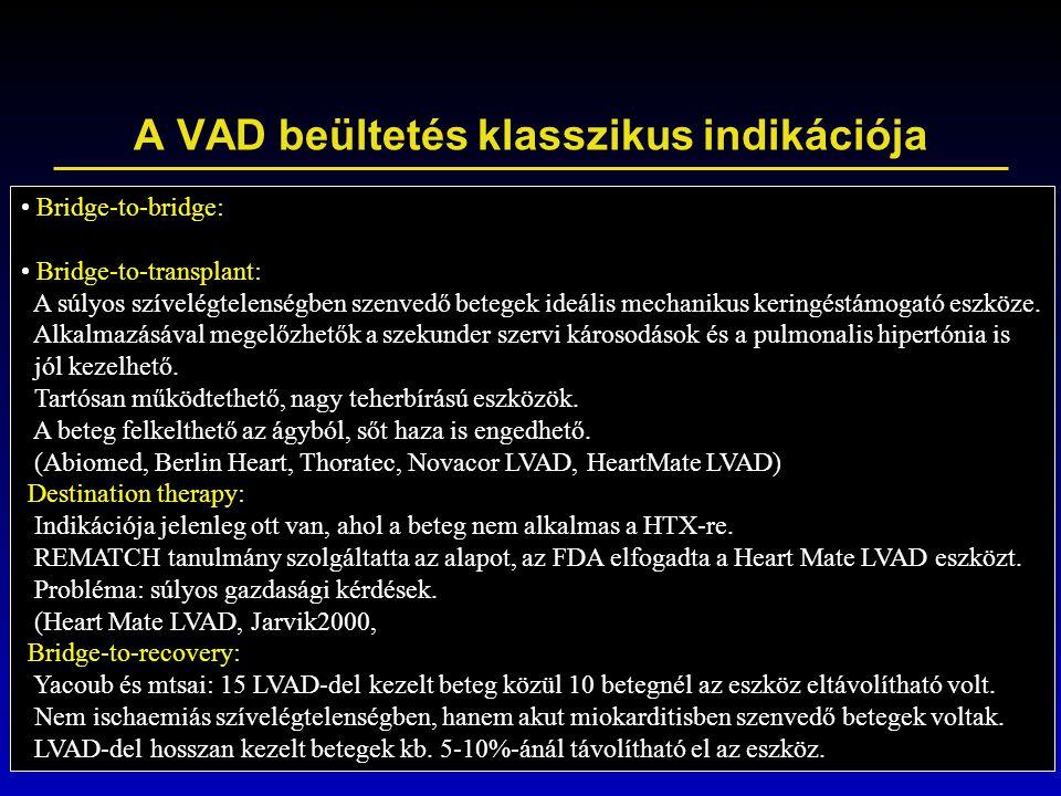 A VAD beültetés klasszikus indikációja Bridge-to-bridge: Bridge-to-transplant: A súlyos szívelégtelenségben szenvedő betegek ideális mechanikus kering