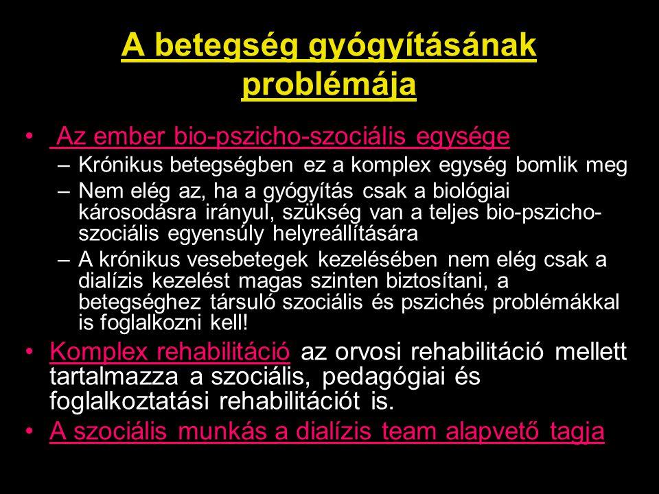 A 2006.évi országos pszichoszociális felmérés célkitűzései A krónikus dialízis kezelésre szoruló felnőtt vesebetegek helyzetének felmérése kérdőíves módszerrel annak érdekében, hogy átfogó és reális képet kapjunk a magyar vesebetegek életminőségét meghatározó tényezőkről, pszichoszociális helyzetéről, egészségi állapotáról.