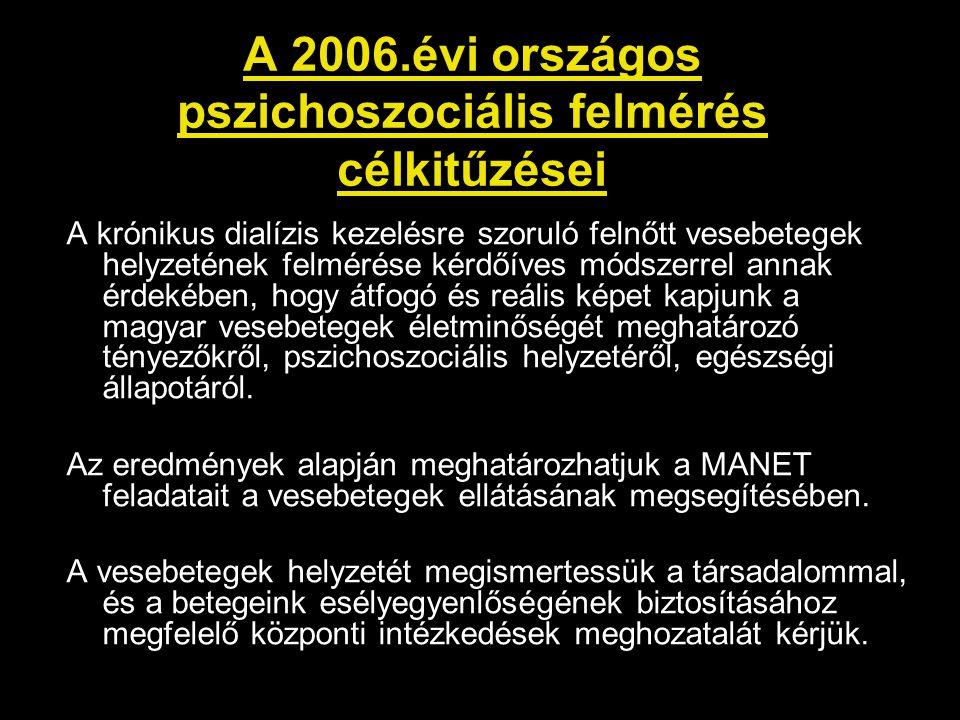 A 2006.évi országos pszichoszociális felmérés célkitűzései A krónikus dialízis kezelésre szoruló felnőtt vesebetegek helyzetének felmérése kérdőíves m