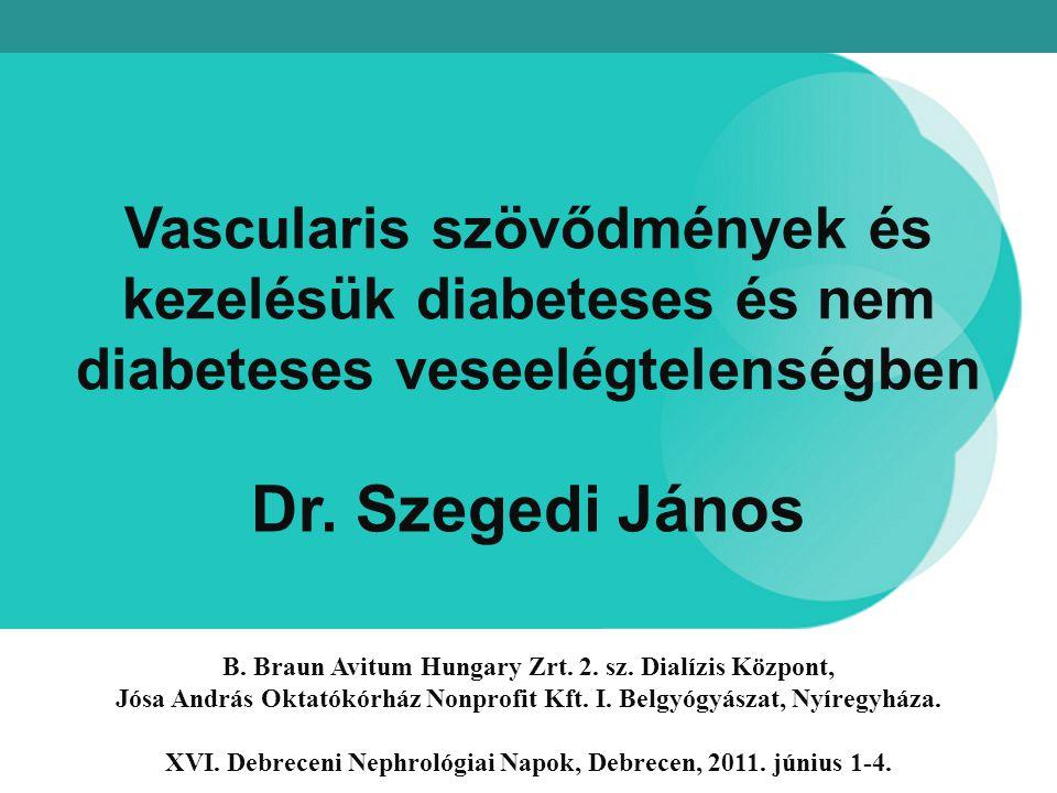 Vascularis szövődmények és kezelésük diabeteses és nem diabeteses veseelégtelenségben Dr. Szegedi János B. Braun Avitum Hungary Zrt. 2. sz. Dialízis K