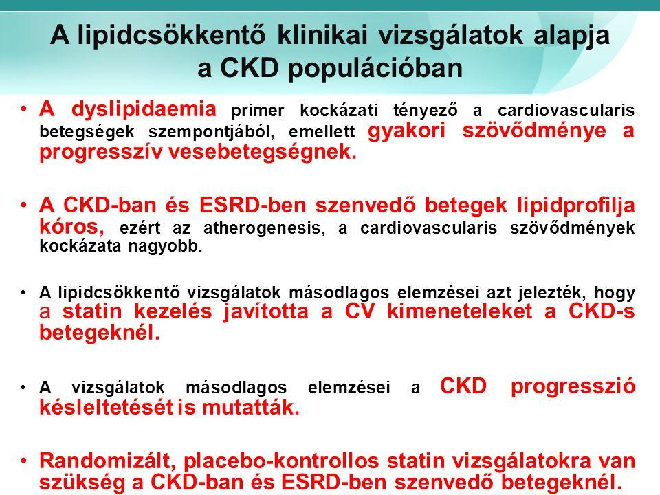 A lipidcsökkentő klinikai vizsgálatok alapja a CKD populációban A dyslipidaemia primer kockázati tényező a cardiovascularis betegségek szempontjából,