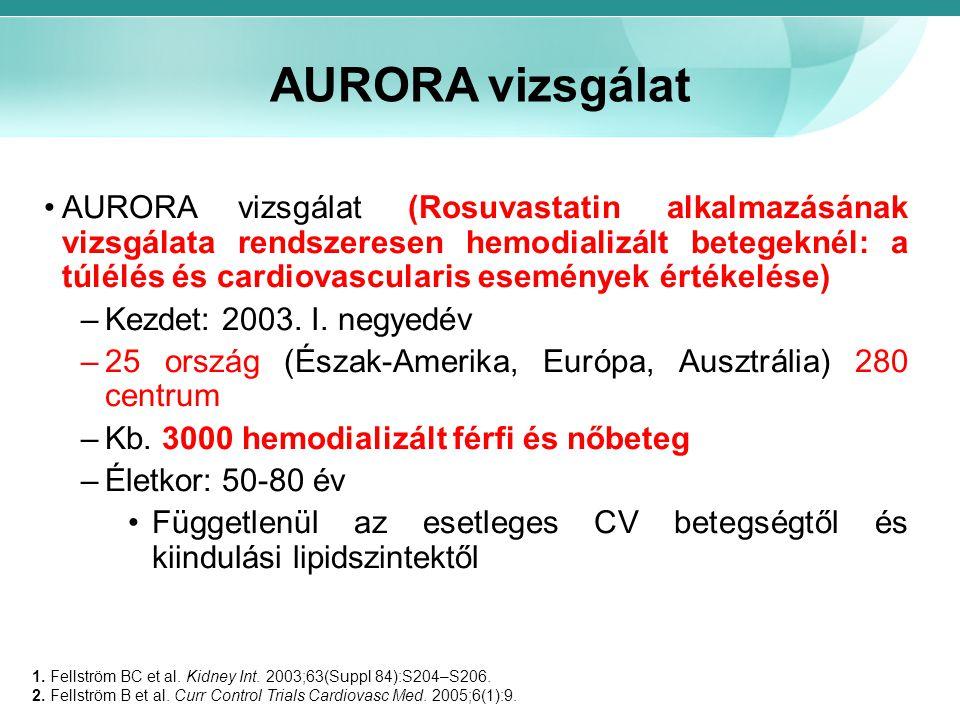 AURORA vizsgálat AURORA vizsgálat (Rosuvastatin alkalmazásának vizsgálata rendszeresen hemodializált betegeknél: a túlélés és cardiovascularis esemény