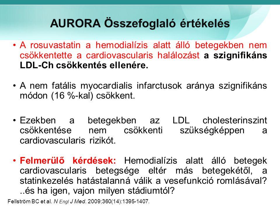 AURORA Összefoglaló értékelés A rosuvastatin a hemodialízis alatt álló betegekben nem csökkentette a cardiovascularis halálozást a szignifikáns LDL-Ch