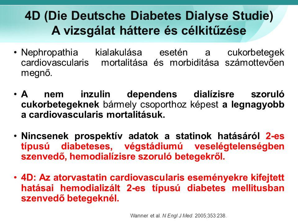 4D (Die Deutsche Diabetes Dialyse Studie) A vizsgálat háttere és célkitűzése Nephropathia kialakulása esetén a cukorbetegek cardiovascularis mortalitá