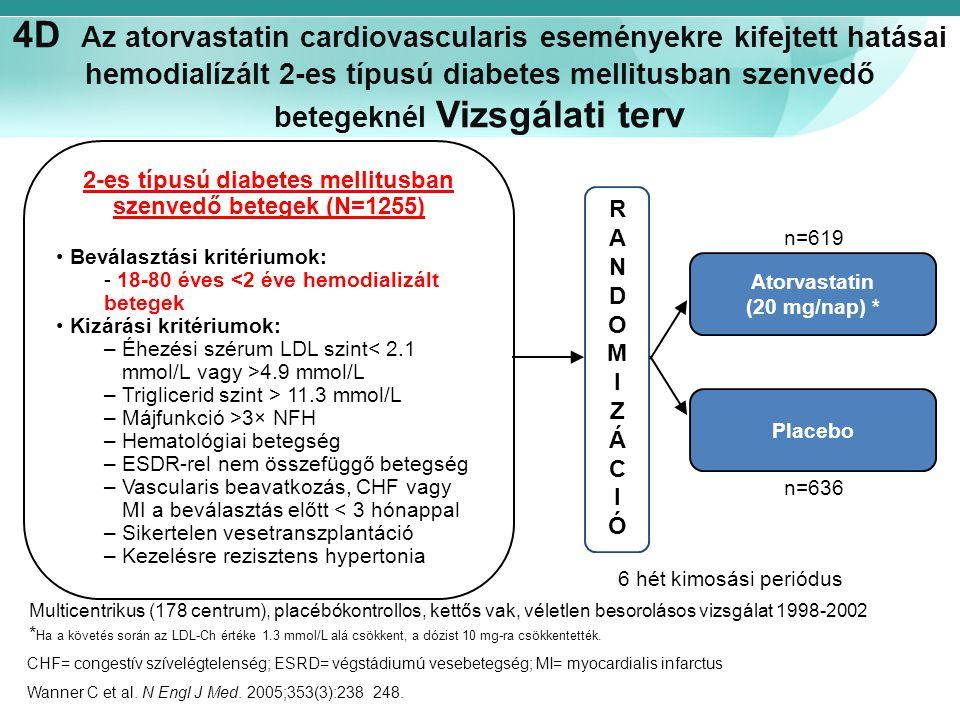 4D Az atorvastatin cardiovascularis eseményekre kifejtett hatásai hemodialízált 2-es típusú diabetes mellitusban szenvedő betegeknél Vizsgálati terv R