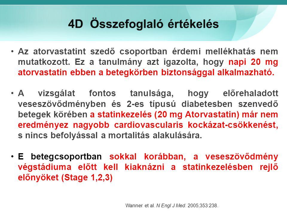 4D Összefoglaló értékelés Az atorvastatint szedő csoportban érdemi mellékhatás nem mutatkozott. Ez a tanulmány azt igazolta, hogy napi 20 mg atorvasta
