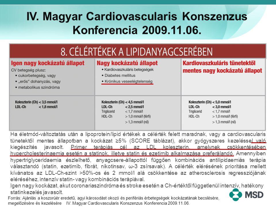 IV. Magyar Cardiovascularis Konszenzus Konferencia 2009.11.06. Forrás: Ajánlás a koszorúér eredetű, agyi károsodást okozó és perifériás érbetegségek k