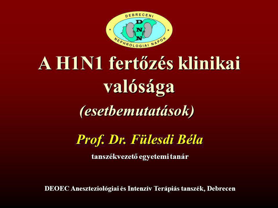 A H1N1 fertőzés klinikai valósága(esetbemutatások) Prof. Dr. Fülesdi Béla tanszékvezető egyetemi tanár DEOEC Aneszteziológiai és Intenzív Terápiás tan