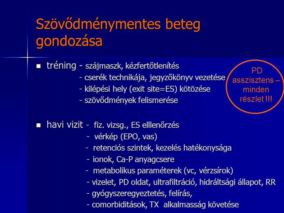 Infektív szövődmények: Infektív szövődmények: exit site, tunnel infectió PD peritonitis