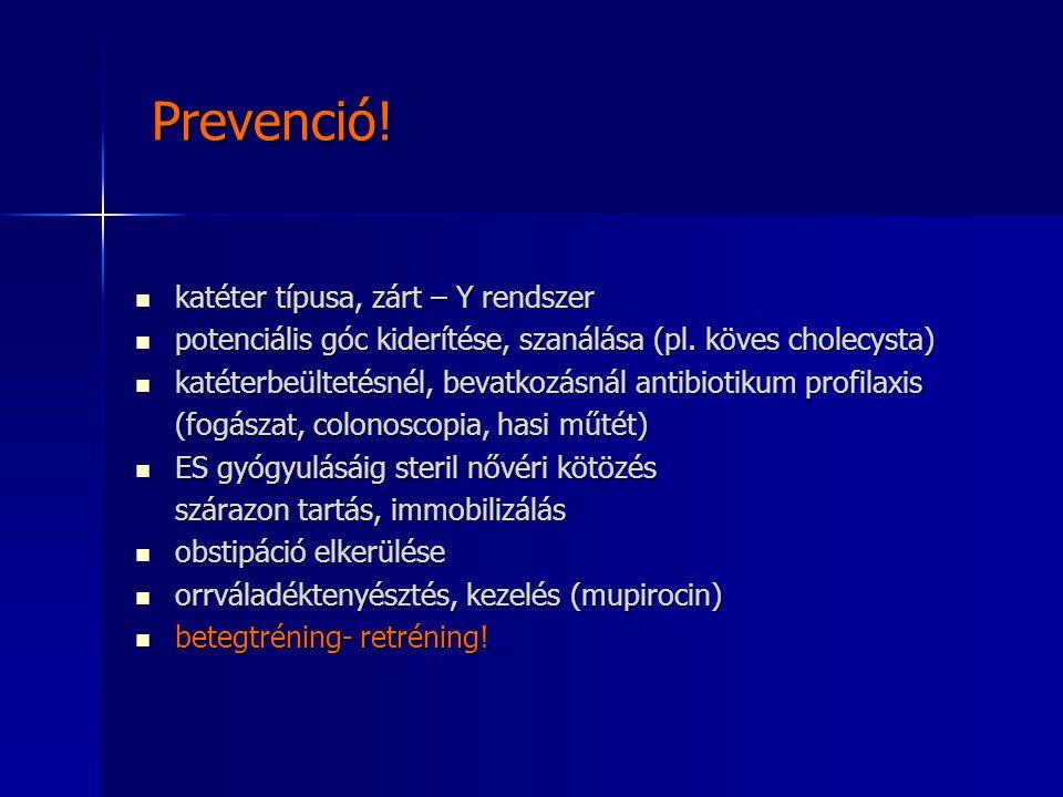 Prevenció! Prevenció! katéter típusa, zárt – Y rendszer katéter típusa, zárt – Y rendszer potenciális góc kiderítése, szanálása (pl. köves cholecysta)