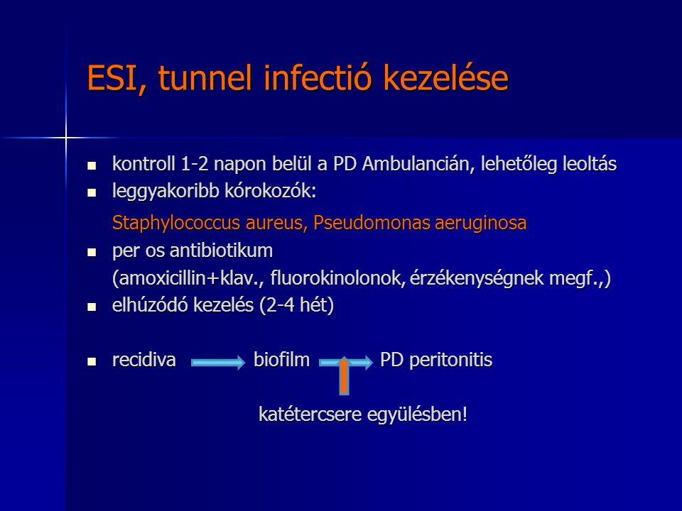 ESI, tunnel infectió kezelése kontroll 1-2 napon belül a PD Ambulancián, lehetőleg leoltás kontroll 1-2 napon belül a PD Ambulancián, lehetőleg leoltá