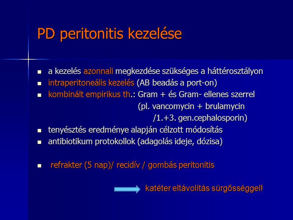 PD peritonitis kezelése a kezelés azonnali megkezdése szükséges a háttérosztályon a kezelés azonnali megkezdése szükséges a háttérosztályon intraperit