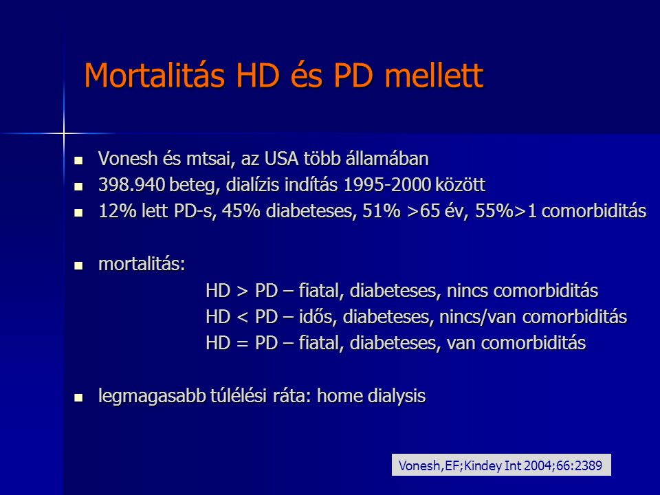 Mortalitás HD és PD mellett Vonesh és mtsai, az USA több államában Vonesh és mtsai, az USA több államában 398.940 beteg, dialízis indítás 1995-2000 kö