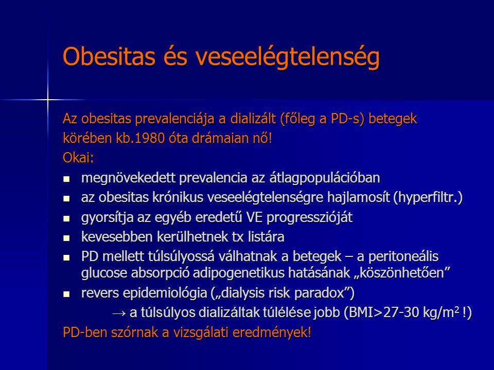 Obesitas és veseelégtelenség Az obesitas prevalenciája a dializált (főleg a PD-s) betegek körében kb.1980 óta drámaian nő! Okai: megnövekedett prevale