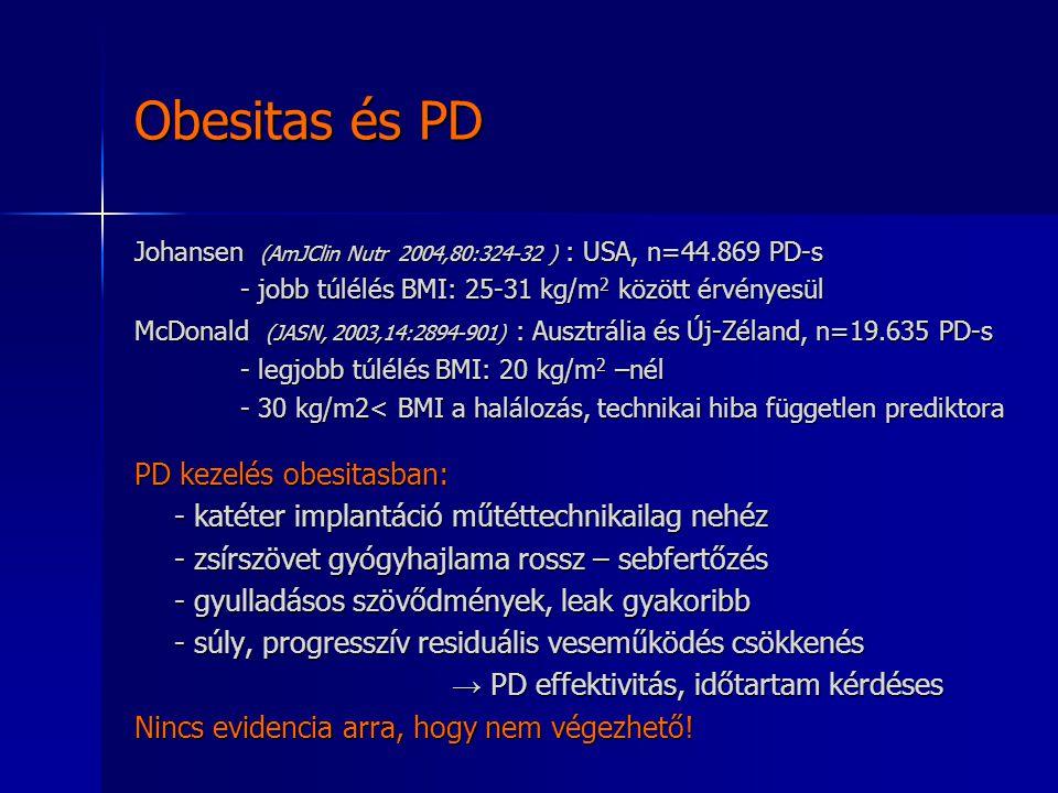 Obesitas és PD Johansen (AmJClin Nutr 2004,80:324-32 ) : USA, n=44.869 PD-s - jobb túlélés BMI: 25-31 kg/m 2 között érvényesül McDonald (JASN, 2003,14