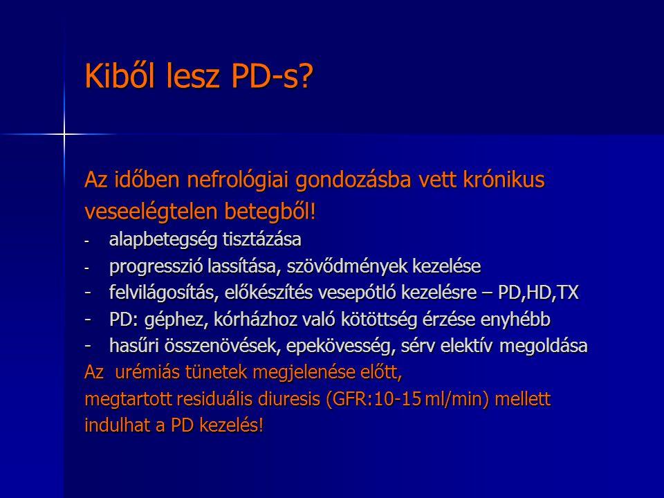 Kiből lesz PD-s? Az időben nefrológiai gondozásba vett krónikus veseelégtelen betegből! - alapbetegség tisztázása - progresszió lassítása, szövődménye