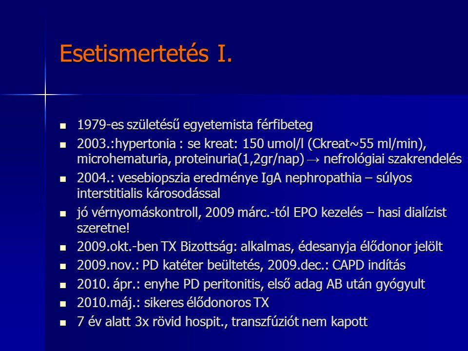 Esetismertetés I. 1979-es születésű egyetemista férfibeteg 1979-es születésű egyetemista férfibeteg 2003.:hypertonia : se kreat: 150 umol/l (Ckreat~55