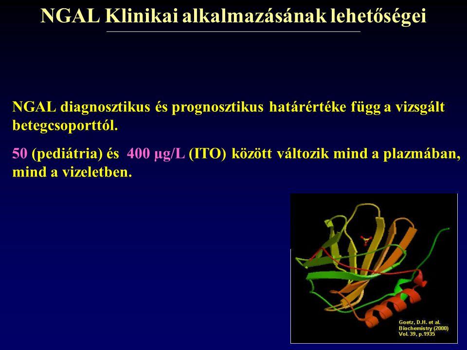 NGAL Klinikai alkalmazásának lehetőségei NGAL diagnosztikus és prognosztikus határértéke függ a vizsgált betegcsoporttól. 50 (pediátria) és 400 µg/L (
