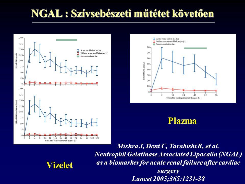 NGAL : Szívsebészeti műtétet követően Plazma Vizelet Mishra J, Dent C, Tarabishi R, et al. Neutrophil Gelatinase Associated Lipocalin (NGAL) as a biom