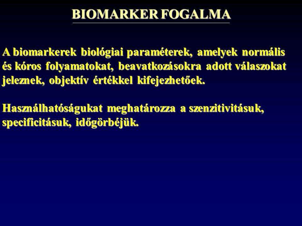 BIOMARKER FOGALMA A biomarkerek biológiai paraméterek, amelyek normális és kóros folyamatokat, beavatkozásokra adott válaszokat jeleznek, objektív ért