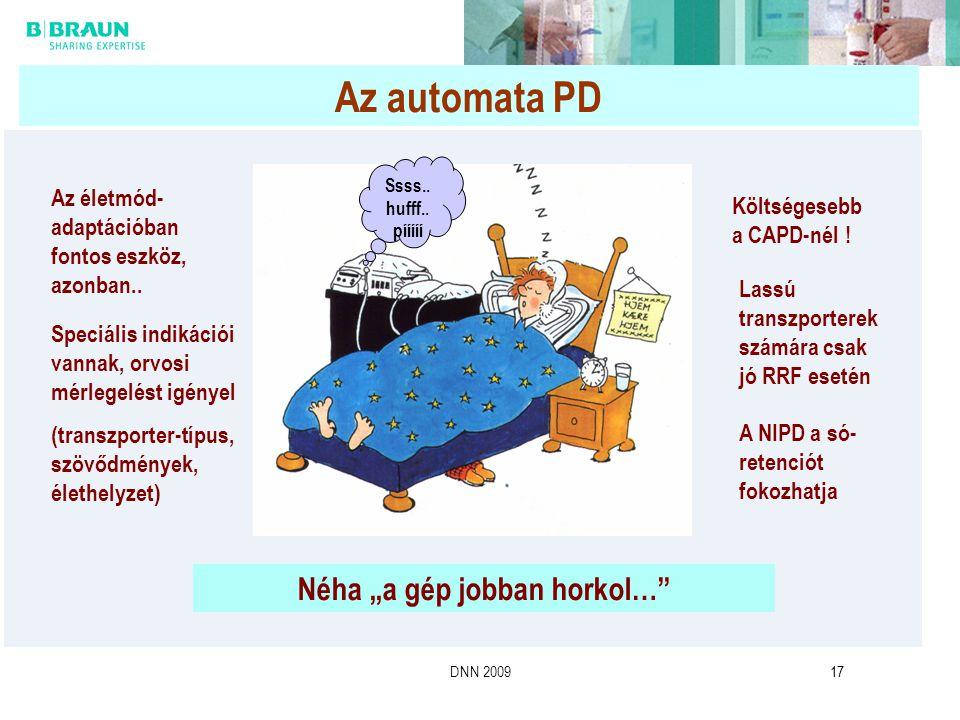 """DNN 200917 Az automata PD Néha """"a gép jobban horkol…"""" Speciális indikációi vannak, orvosi mérlegelést igényel (transzporter-típus, szövődmények, életh"""