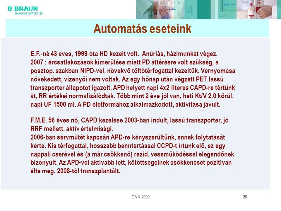 DNN 200920 Automatás eseteink E.F.-né 43 éves, 1999 óta HD kezelt volt. Anúriás, házimunkát végez. 2007 : ércsatlakozások kimerülése miatt PD áttérésr