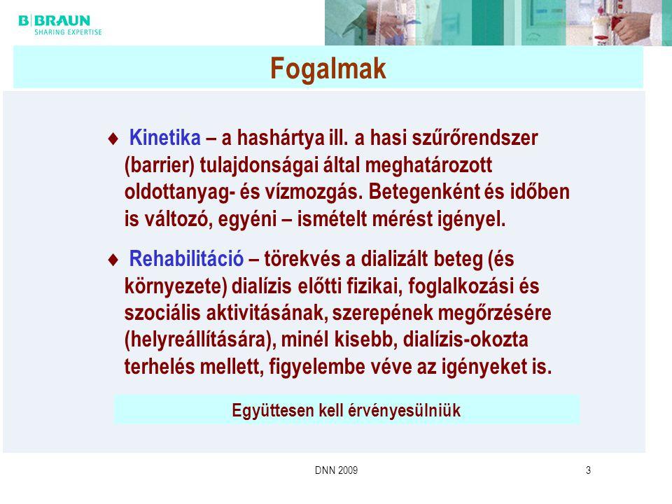 DNN 20093 Fogalmak  Kinetika – a hashártya ill. a hasi szűrőrendszer (barrier) tulajdonságai által meghatározott oldottanyag- és vízmozgás. Betegenké