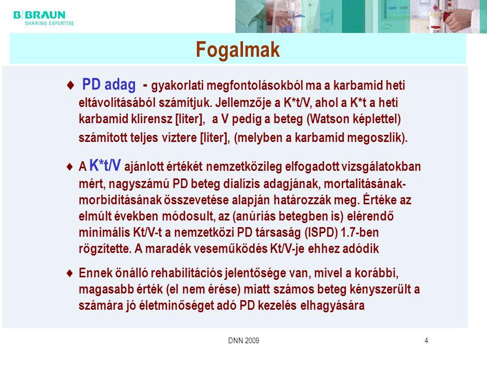 DNN 20094 Fogalmak  PD adag - gyakorlati megfontolásokból ma a karbamid heti eltávolításából számítjuk. Jellemzője a K*t/V, ahol a K*t a heti karbami