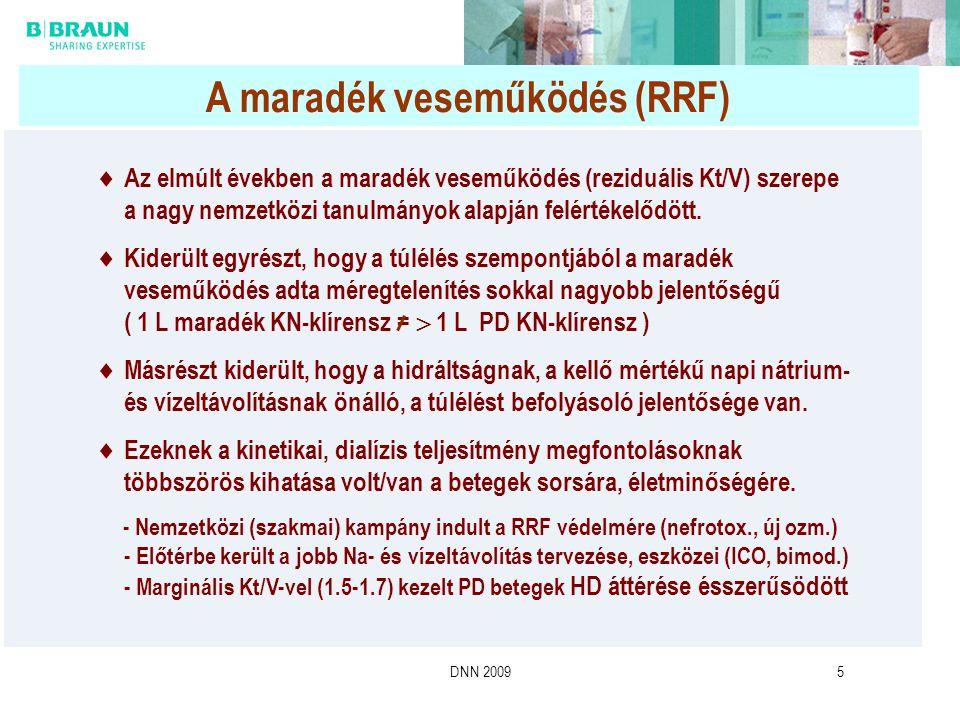 DNN 20095 A maradék veseműködés (RRF)  Az elmúlt években a maradék veseműködés (reziduális Kt/V) szerepe a nagy nemzetközi tanulmányok alapján felért