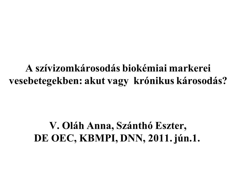 A szívizomkárosodás biokémiai markerei vesebetegekben: akut vagy krónikus károsodás? V. Oláh Anna, Szánthó Eszter, DE OEC, KBMPI, DNN, 2011. jún.1.