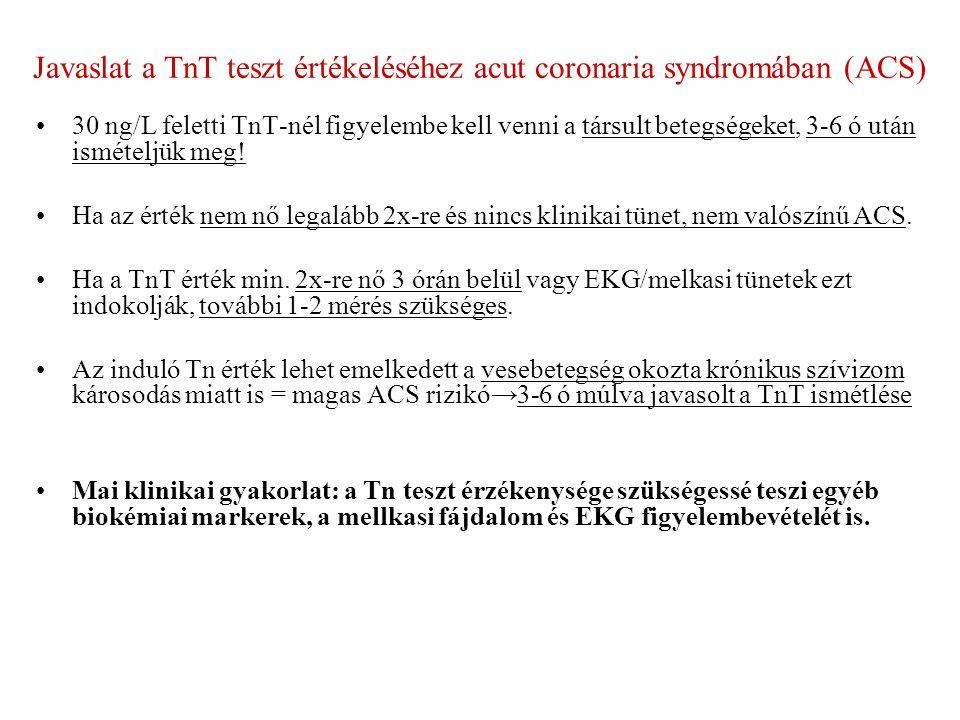 Javaslat a TnT teszt értékeléséhez acut coronaria syndromában (ACS) 30 ng/L feletti TnT-nél figyelembe kell venni a társult betegségeket, 3-6 ó után ismételjük meg.