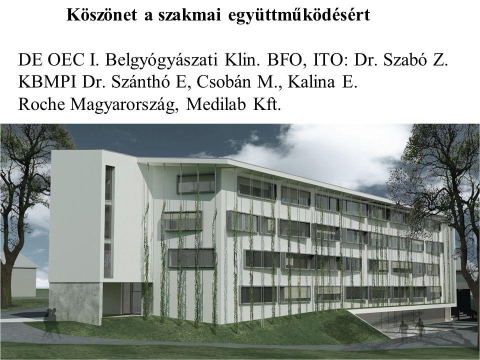 Köszönet a szakmai együttműködésért DE OEC I. Belgyógyászati Klin. BFO, ITO: Dr. Szabó Z. KBMPI Dr. Szánthó E, Csobán M., Kalina E. Roche Magyarország