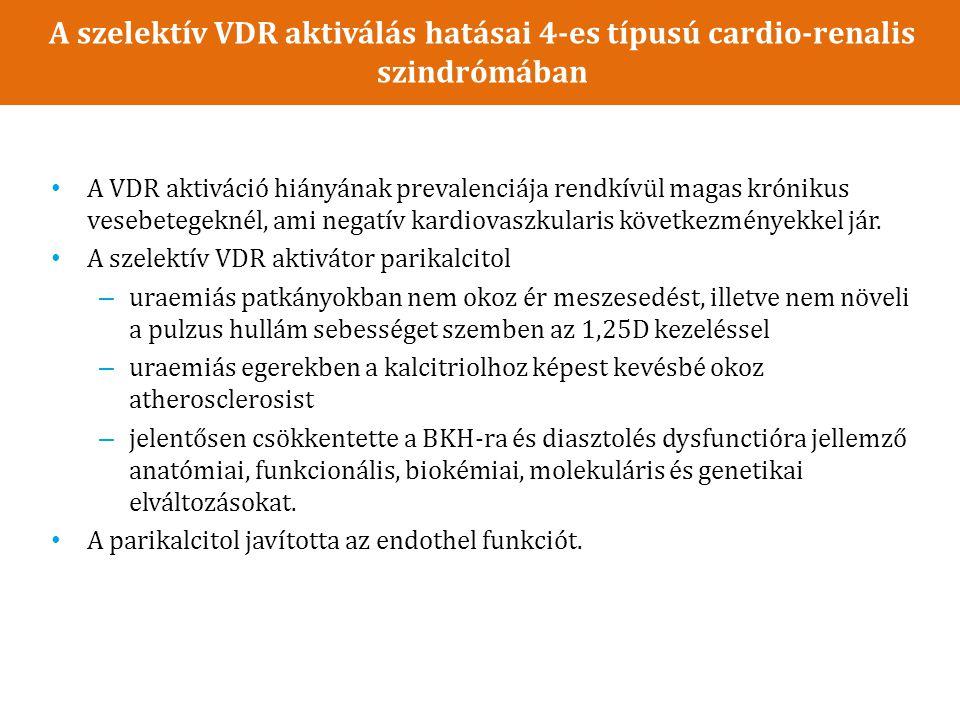 A szelektív VDR aktiválás hatásai 4-es típusú cardio-renalis szindrómában A VDR aktiváció hiányának prevalenciája rendkívül magas krónikus vesebetegeknél, ami negatív kardiovaszkularis következményekkel jár.