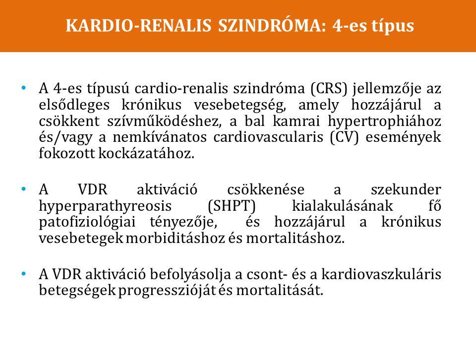 A 4-es típusú cardio-renalis szindróma (CRS) jellemzője az elsődleges krónikus vesebetegség, amely hozzájárul a csökkent szívműködéshez, a bal kamrai hypertrophiához és/vagy a nemkívánatos cardiovascularis (CV) események fokozott kockázatához.