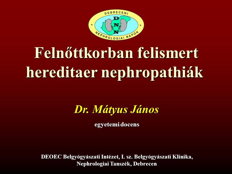 Felnőttkorban felismert hereditaer nephropathiák Dr. Mátyus János egyetemi docens DEOEC Belgyógyászati Intézet, I. sz. Belgyógyászati Klinika, Nephrol
